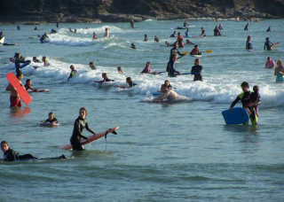Surfing at Polzeath